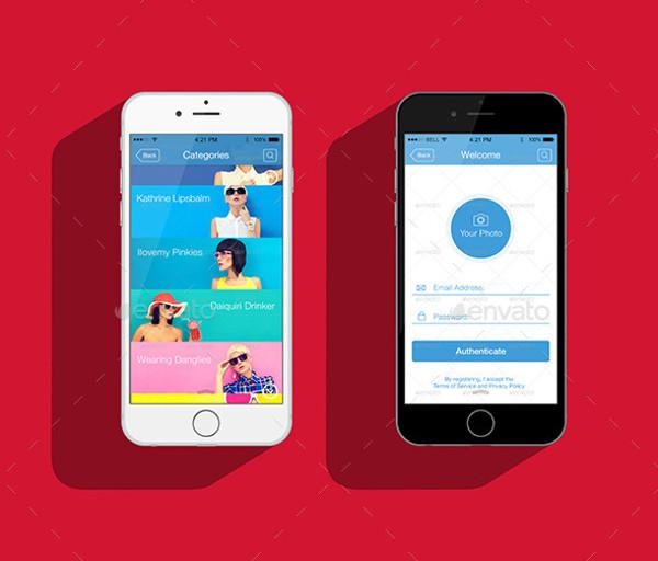 Flat App Screen Mockup