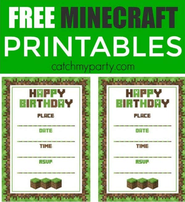 graphic relating to Printable Minecraft Birthday Invitations identified as No cost Minecraft Printables - PSD, PNG, Vector EPS Totally free