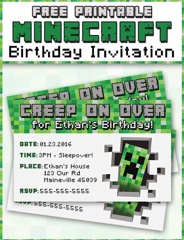 Free Minecraft Printable invitations