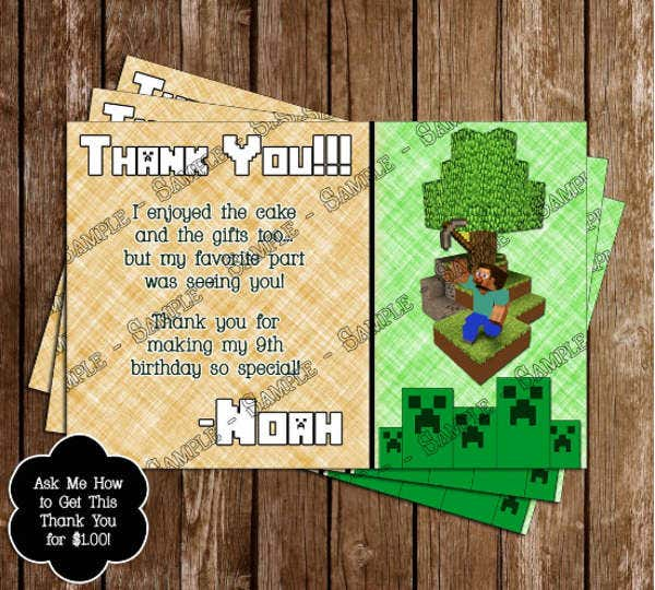 Free Minecraft thnak you card Printable