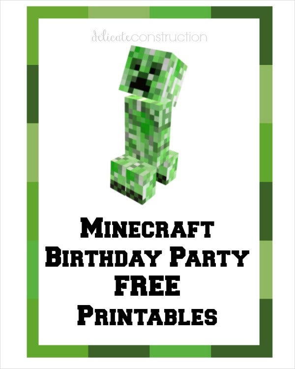 Free Minecraft birthday card Printable