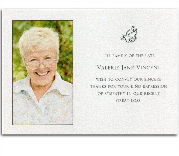 6+ Bereavement Thank You Cards - Free Sample, Example, Format ...