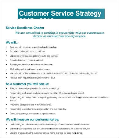 Service strategy template 6 free word pdf documents for Customer care charter template