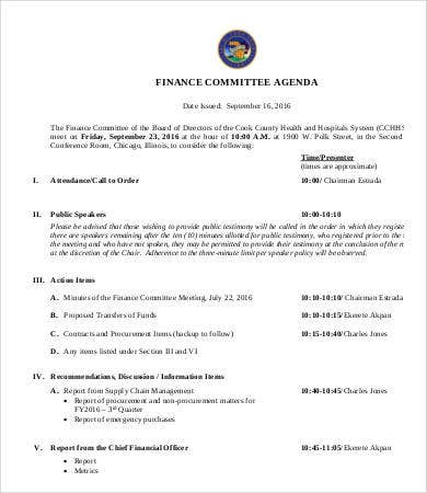finance-committee-agenda-template