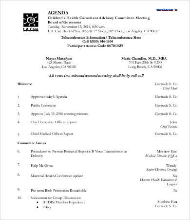 executive committee agenda template