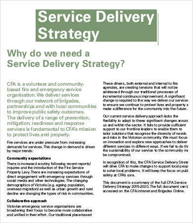 Service Delivery Strategy Template