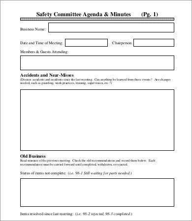 safety committee agenda template1