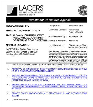 investment committee agenda template