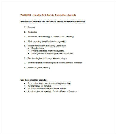 health committee agenda template