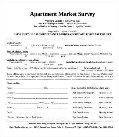 apartment market survey template