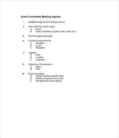 event committee meeting agenda template