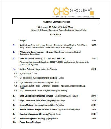 customer committee agenda template