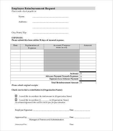 Reimbursement Request Form Expense Reimbursement Form Expense