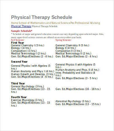 physical therapy schedule template