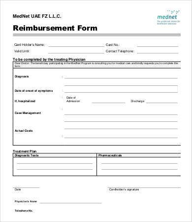 Reimbursement Form Template  Ex
