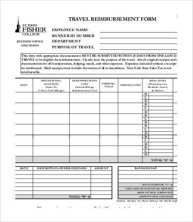 travel reimbursement form template