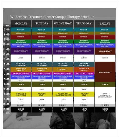 Therapy Schedule Template 8 Free Word Pdf Documents