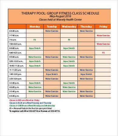 fitness therapy schedule template
