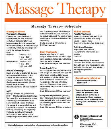 massage therapy schedule