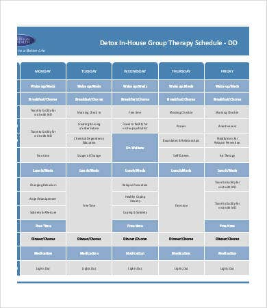 in house group therapy schedule