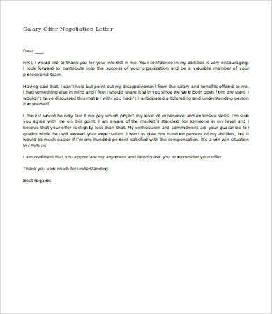 Salary Negotiation Letter   4 Free Word Documents Download | Free