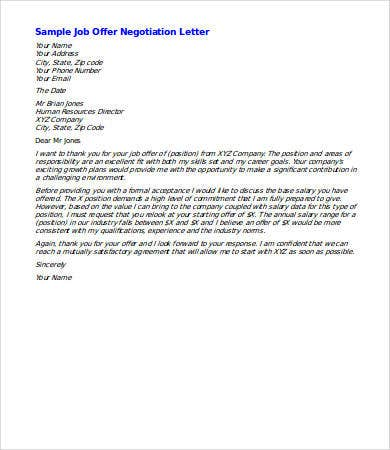 new job salary negotiation letter sample