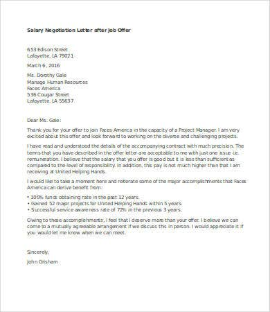 salary negotiation letter after job offer