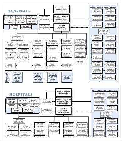 Large Hospital Organizational Chart Template
