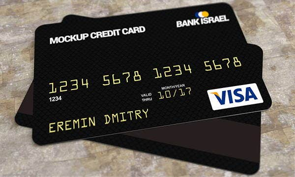 black credit card mockup