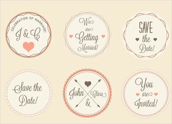 Wedding Labels Vector