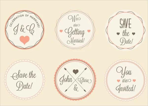wedding labels vector