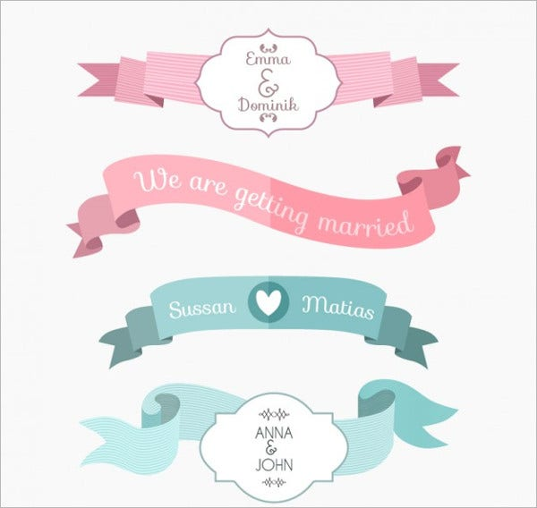 Wedding Ribbon Vector