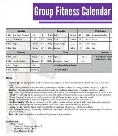 group fitness calendar template