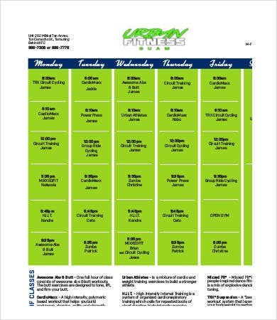 Fitness Calendar Template 9free Pdf Documents Download Free