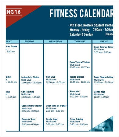 Fitness Calendar Template - 9+Free PDF Documents Download | Free ...
