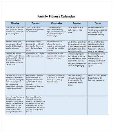 family fitness calendar template