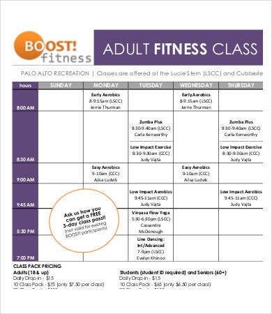 adult fitness calendar template