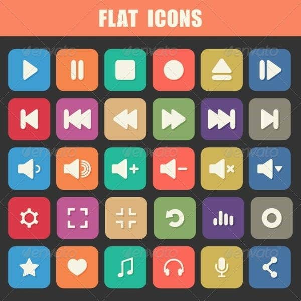 flat play icons
