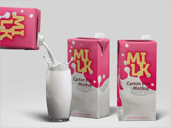 Milk Package Box Mockup