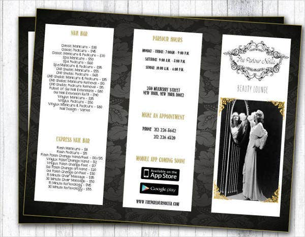 salon trifold brochure