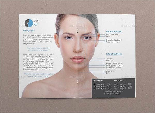 salon beaty treatment bi fold brochure