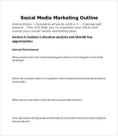social media marketing plan outline
