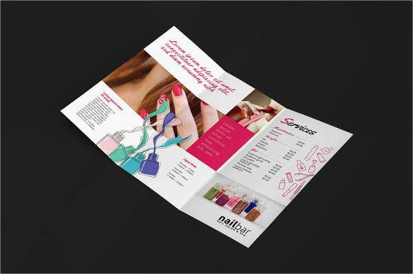 nail salon trifold brochure
