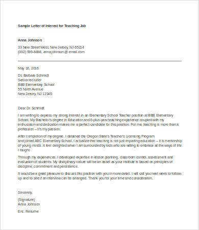 letter of interest for teaching job