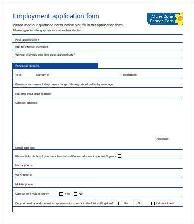 Employment Application Template Word - 7+ Free Word Documents