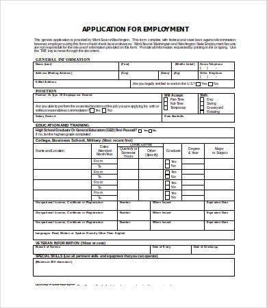 Employment Application Template Word   Free Word Documents