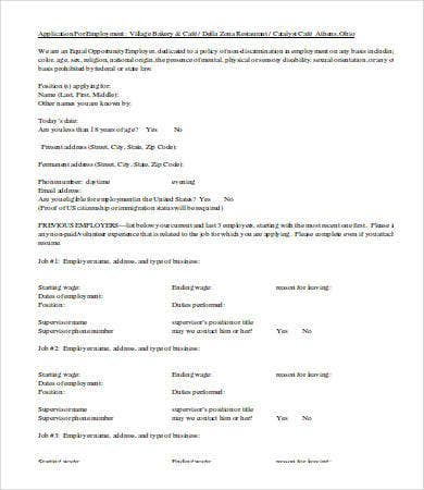 restaurant employment application template word