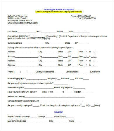 truck driver employment application template word
