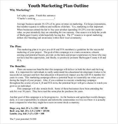 marketing youth plan outline1