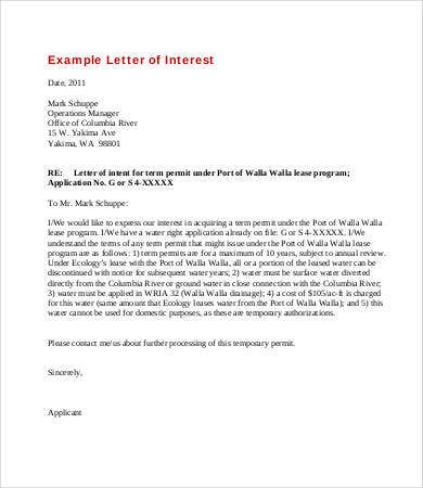 letter of interest for lease program